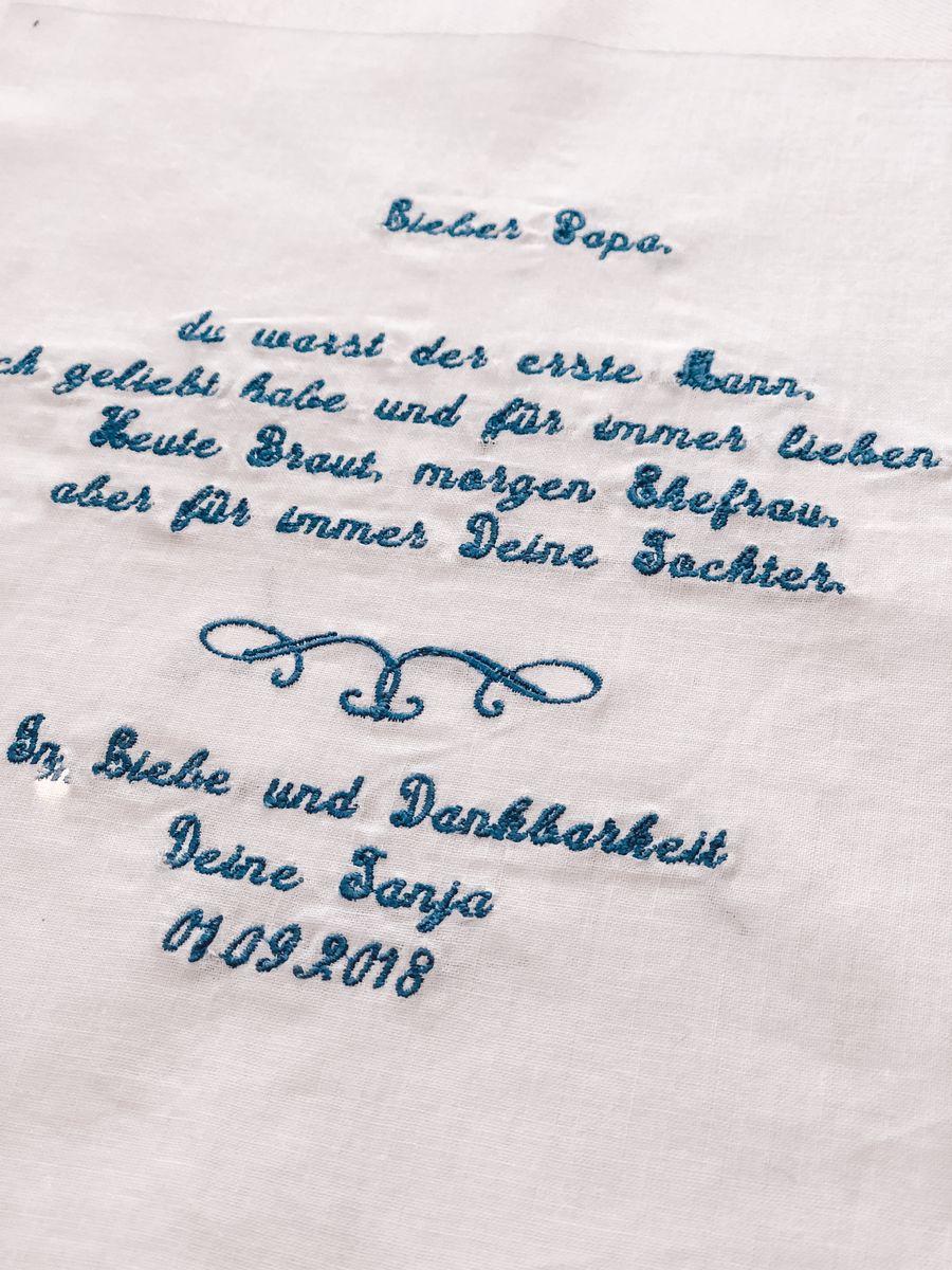 Taschentuch_Hochzeit_Hochzeitsgeschenk_Mutter_Vater_Textstick_Stickerei